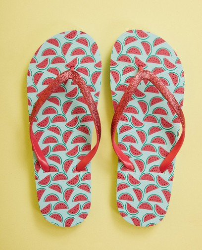 Teenslippers met watermeloenprint