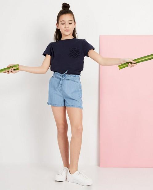 T-shirt bleu avec de la dentelle - en coton flammé - JBC