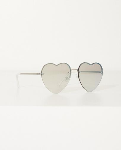 Zilver metalen hartjes zonnebril