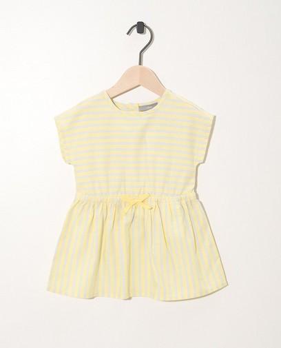 Robe jaune, rayée bleue et blanche