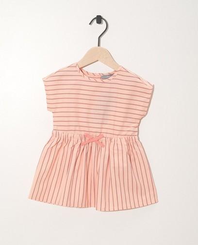 Roze jurkje roze-blauw gestreept