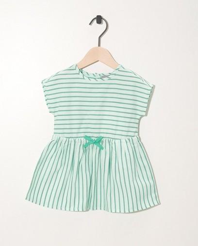 groen jurkje groen-blauw gestreept