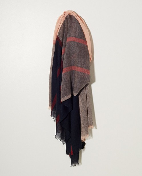 Écharpe rayée  - bleu, rouge et rose - JBC