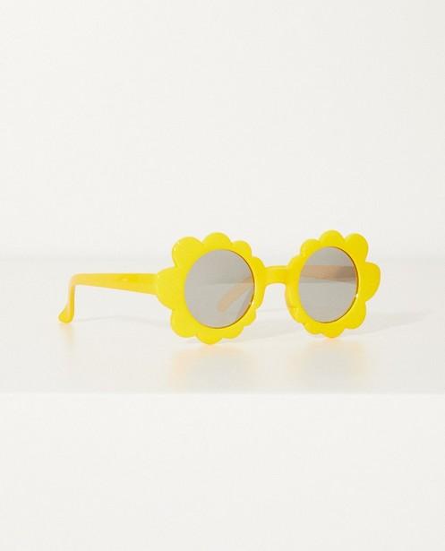 Gele zonnebril in bloemetjesvorm - Met spiegelende glazen - JBC