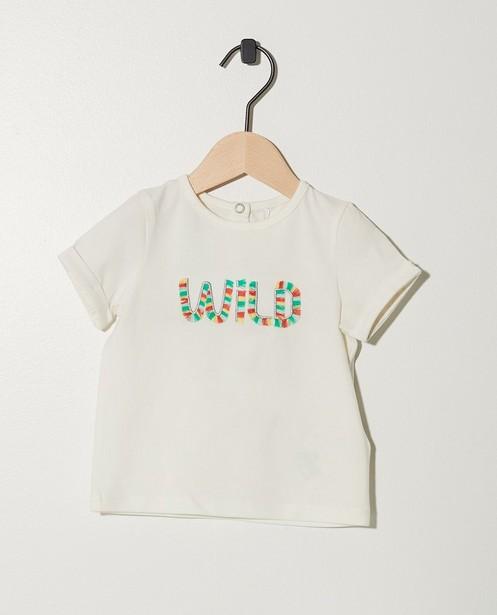 T-shirt vert pâle en coton bio - inscription colorée - JBC
