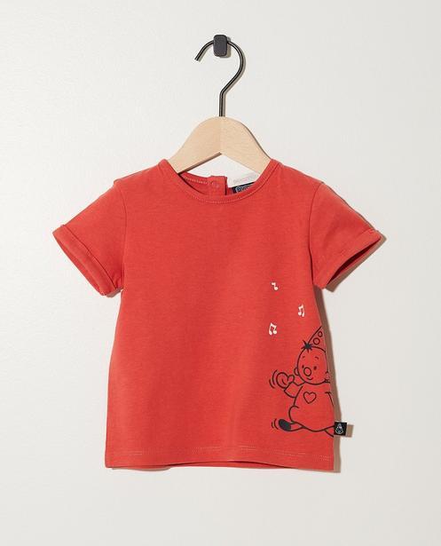 T-shirt rouge, coton bio - imprimé de Bumba - Bumba