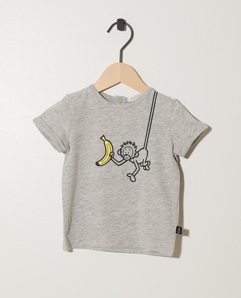 T-shirt gris, coton bio - imprimé de Bumba - Bumba