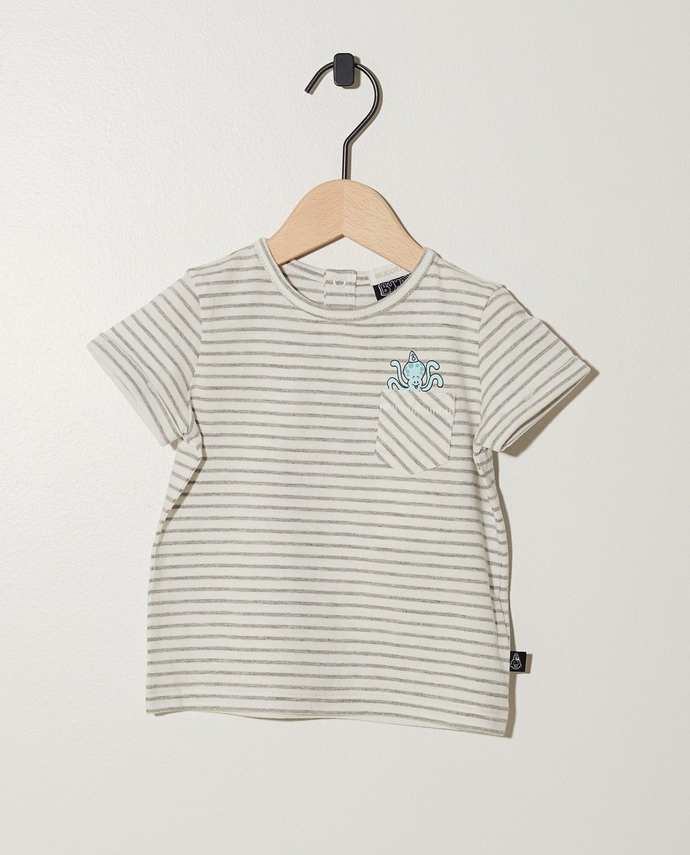 T-shirt blanc en coton bio Bumba - rayures noires - Bumba