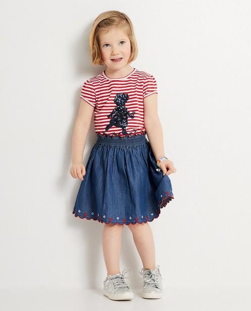 Blauwe jeansrok Heidi   - Met rood accent - Heidi