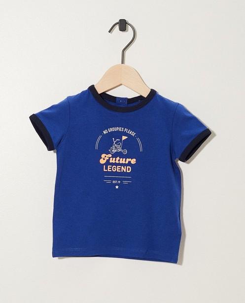 T-shirt bleu à imprimé - et inscription - JBC