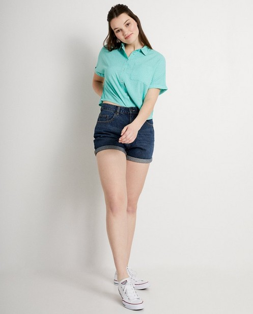 Lichtgroen hemdje met print - losvallende fit - Groggy