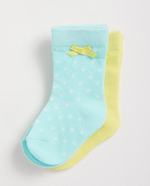 2 paires de chaussettes  - En vert et jaune - Newborn