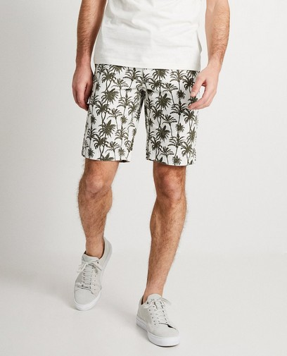 Short blanc, palmiers kaki