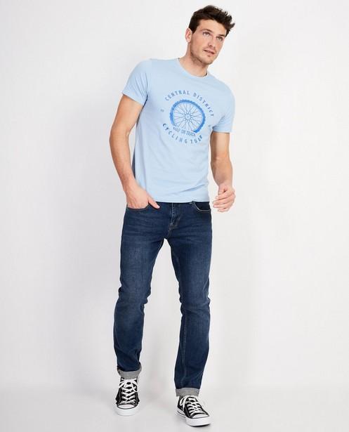 T-shirt bleu foncé  - imprimé blanc - JBC