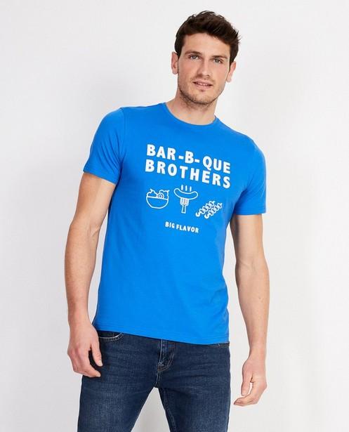 Blauw T-shirt met opschrift - 'bar-b-que brothers' - JBC