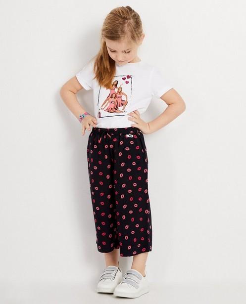Donkerblauwe broek met roze kusjes K3 - allover print - K3