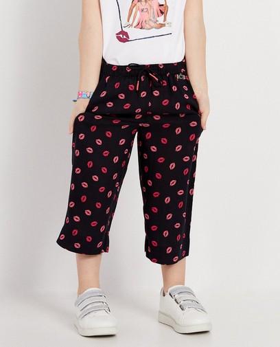Donkerblauwe broek met roze kusjes K3