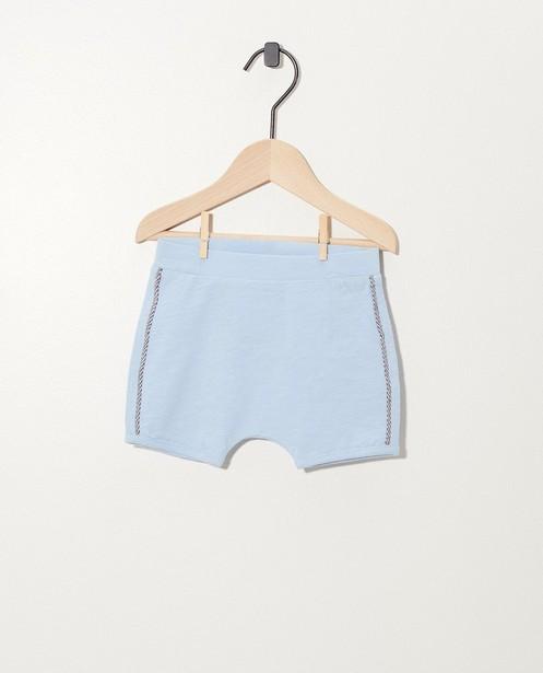 Short bleu clair en coton bio - avec biais décoratif - Newborn