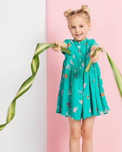 Groene jurk met bloemenprint