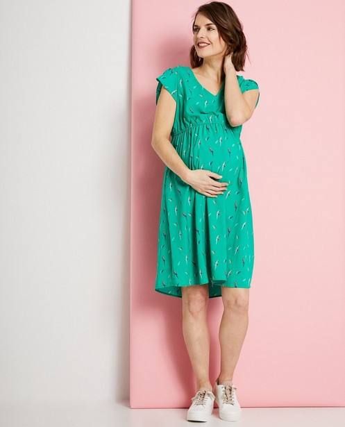 Groene jurk met allover print JoliRonde - zwangerschap - Joli Ronde