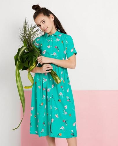 Groen maxi-jurkje met bloemenprint