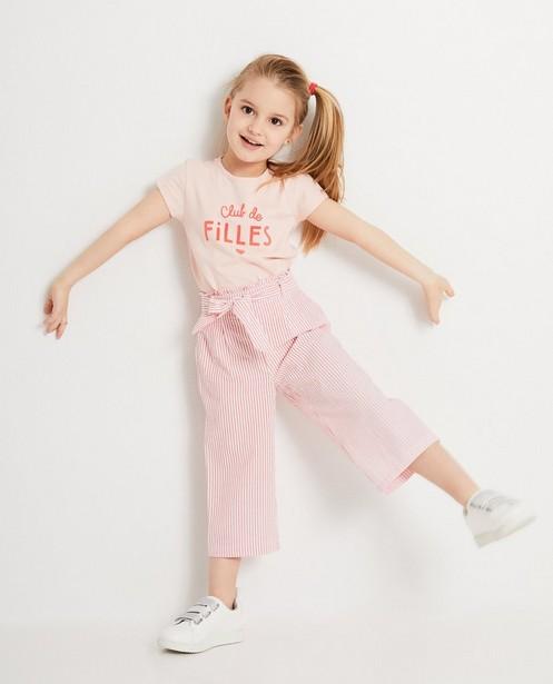 T-shirt rose à inscription - coton bio - JBC