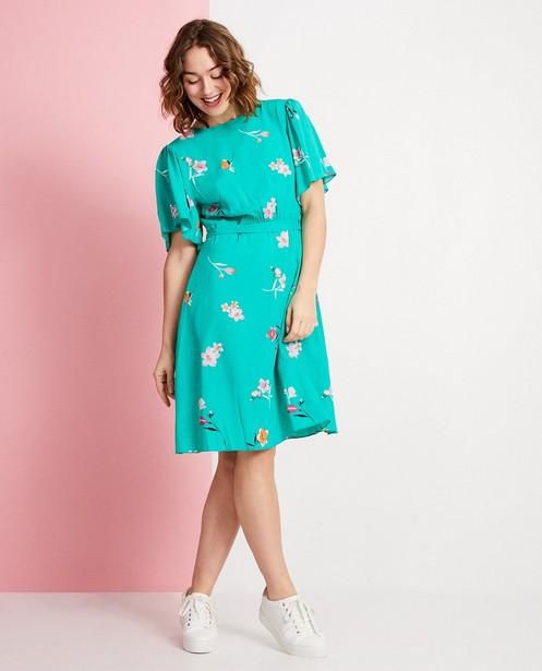 55c7721d7e935d Groene jurk met bloemenprint - met knooplint - JBC
