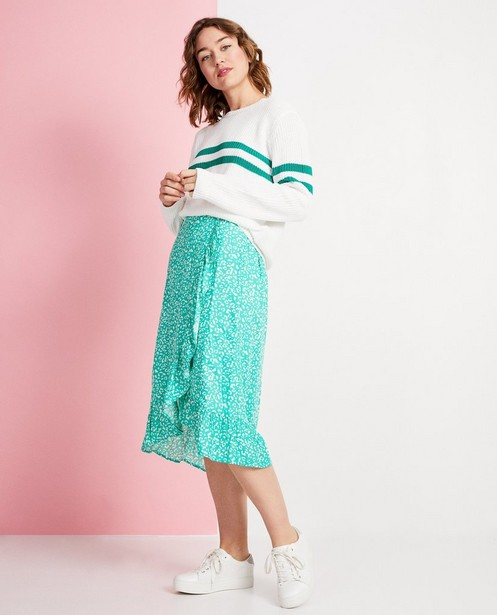 Groene rok met witte print - wikkelrok - JBC