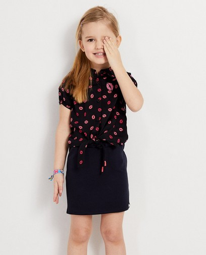 Donkerblauw hemdje met lippenprint K3