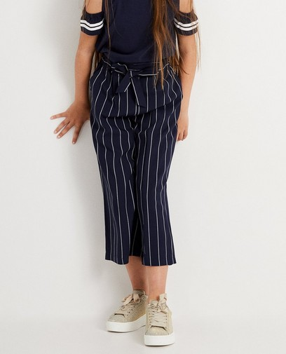 Jupe-culotte bleu foncé rayée
