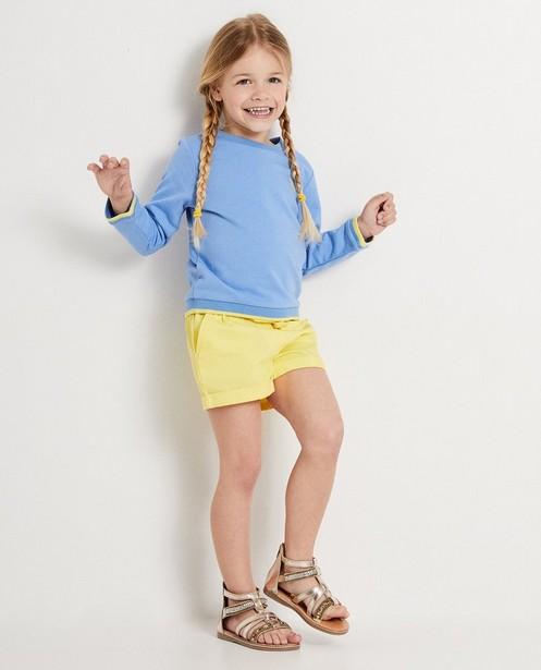 Blauwe sweater met geel Heidi - met gele accenten - Heidi