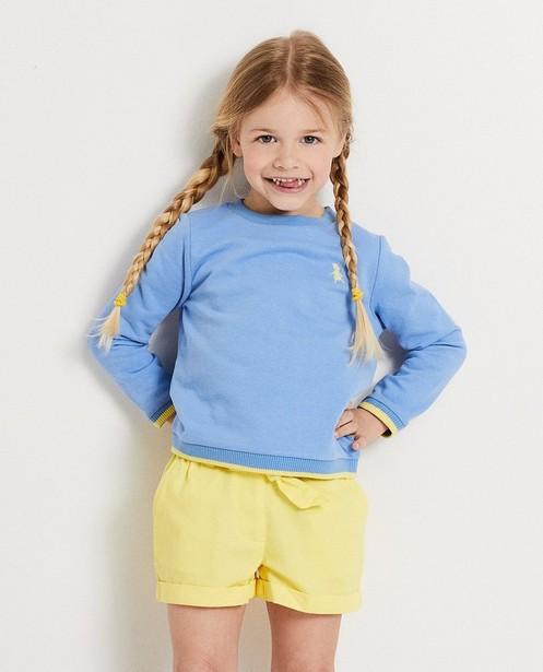 Sweaters - BLM - Blauwe sweater met geel Heidi