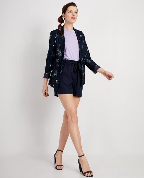 Donkerblauwe blazer met print - Allover bloemenprint - JBC