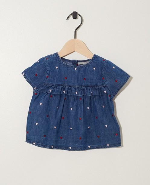 T-shirt, cœurs brodés - bleu - JBC