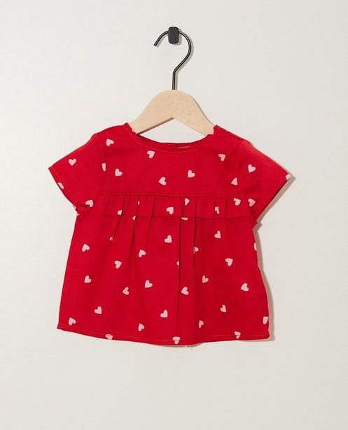 T-shirt rouge, cœurs - imprimé intégral - JBC