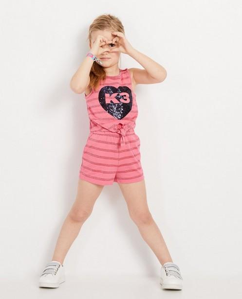 Roze playsuit met blauw hart K3 - met pailletten - K3