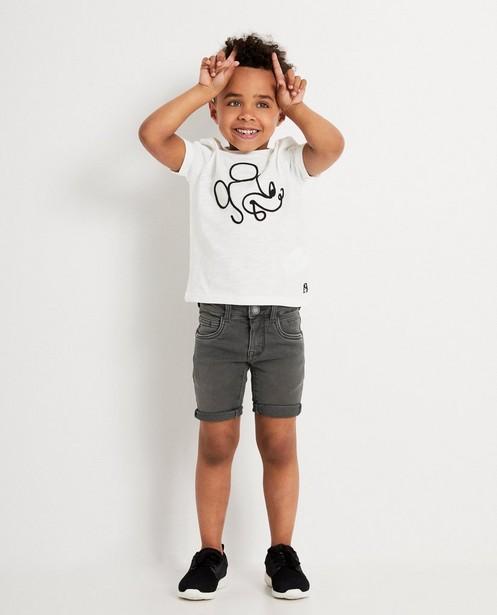 T-shirt blanc avec Mickey, Disney - en coton flammé - Mickey