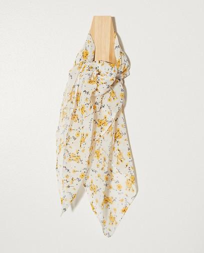 Écharpe blanche, imprimé fleuri