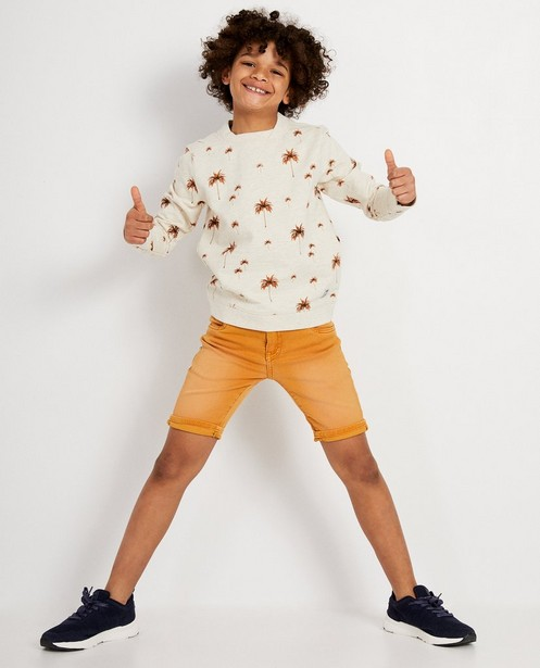 Beige sweater met print Ketnet - Allover palmbomenprint - Ketnet