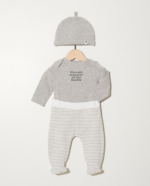 Set: romper, broekje, muts My First - In grijs en wit - Newborn