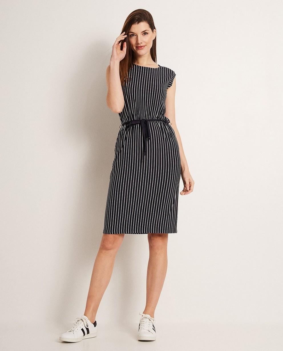 Zwart kleedje met strepenprint  - In donkerblauw - JBC