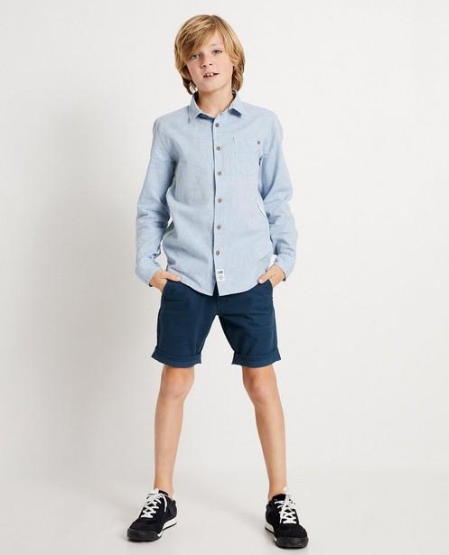 Chemise bleue avec bande I AM - avec du lin et du coton bio - I AM