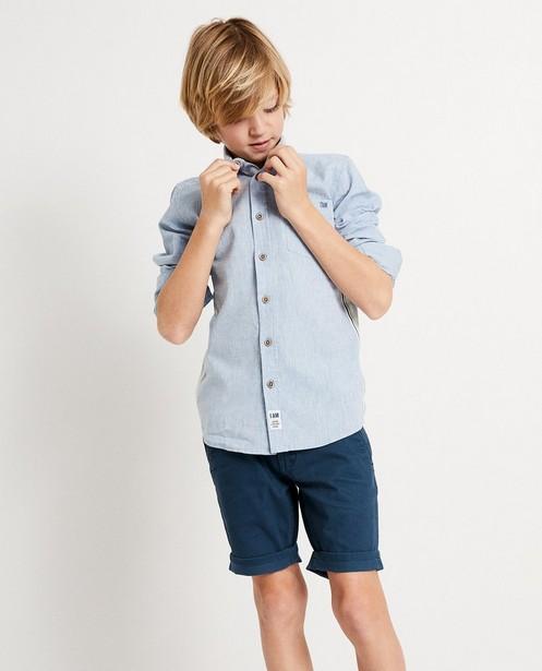 Hemden - Blauw hemd met strook I AM