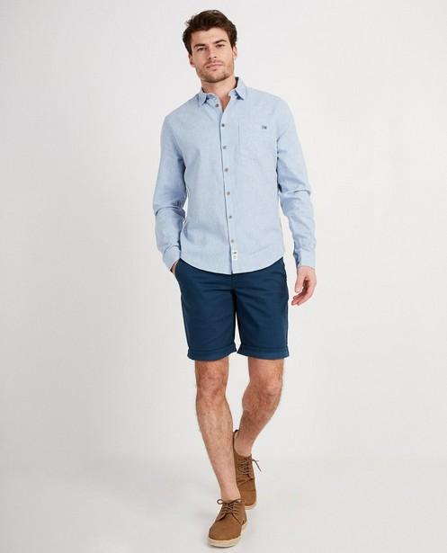 Donkerblauw hemd met strook I AM - bevat linnen en biokatoen - I AM