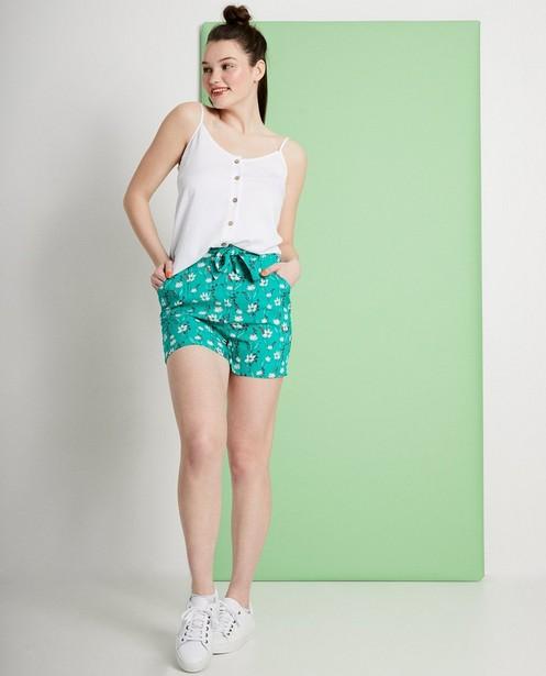 Groene short met bloemenprint - met hoge taille - JBC