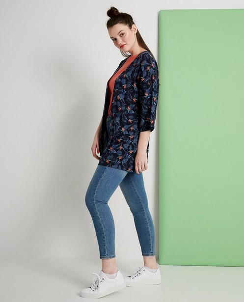 Kimono bleu foncé - imprimé intégral fleuri - JBC
