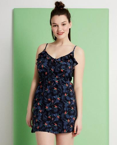 Donkerblauw jurkje met bloemenprint