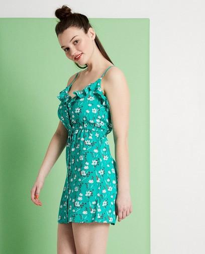 Groen jurkje met bloemenprint