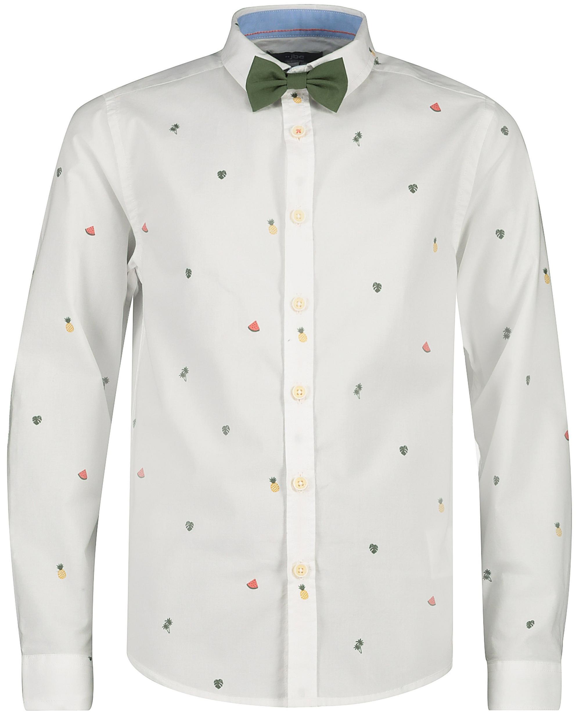 Weißes Hemd mit Fliege und Print