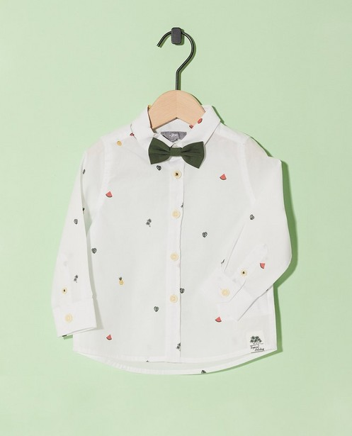 Chemise blanche, nœud kaki  - imprimé estival - JBC